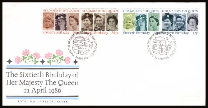 view larger back view image for 60th Birthday of The Queen set of four on an unaddressed (label removed) Royal Mail FDC cancelled with the special alternative cancel for WINDSOR