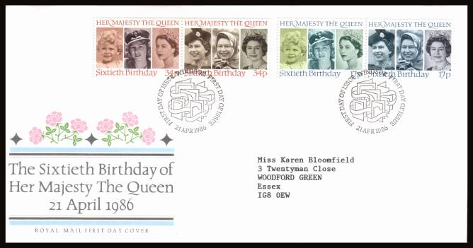 view larger back view image for 60th Birthday of The Queen set of four on a neatly typed addressed Royal Mail FDC cancelled with the special alternative cancel for WINDSOR