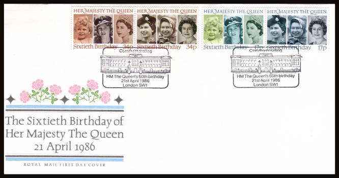 view larger back view image for 60th Birthday of The Queen set of four on an unaddressed ( Royal Mail FDC cancelled with the special cancel for LONDON SW1