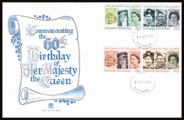 view larger back view image for 60th Birthday of The Queen set of four on an unaddressed Stuart FDC cancelled with the a SOUTHPORT 