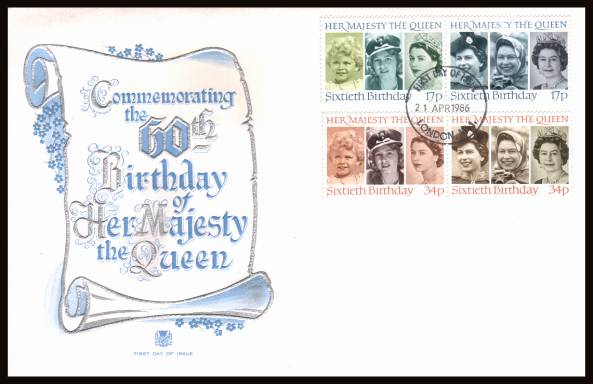 view larger back view image for 60th Birthday of The Queen set of four on an unaddressed Stuart FDC cancelled with a LONDON W.1