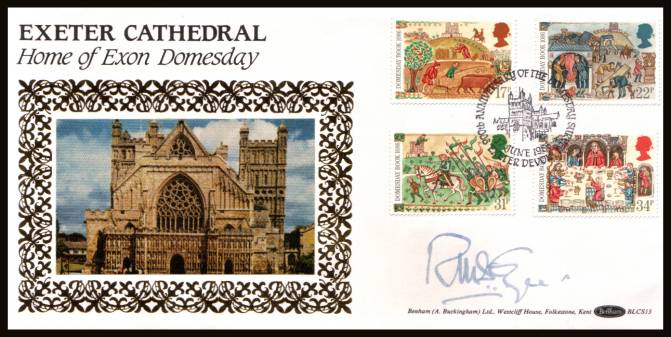 view larger back view image for Medieval Life - Domesday Book set of four on an unaddressed Benham ''Silk'' FDC cancelled with a strike of the 900th ANNIVERSARY OF THE DOMESDAY BOOK - EXETER - DEVON handstamp dated 17 JUNE 1986. BLCS13 autographed by the Dean of Exeter cathedral.