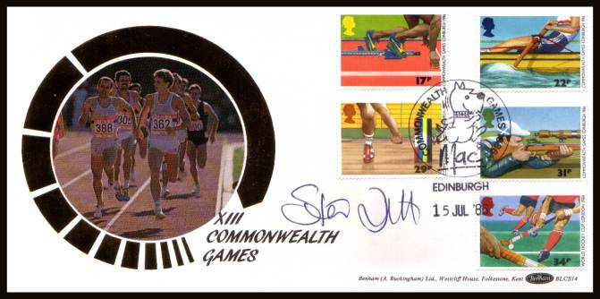view larger back view image for Sport - Commonwealth Games set of five on an unaddressed Benham ''Silk'' FDC cancelled with a  COMMONWEALTH GAMES - MAC - EDINBURGH handstamp dated 15 JUL '86. Autographed by STEVE OVETT Olympic Gold Medal Winner.