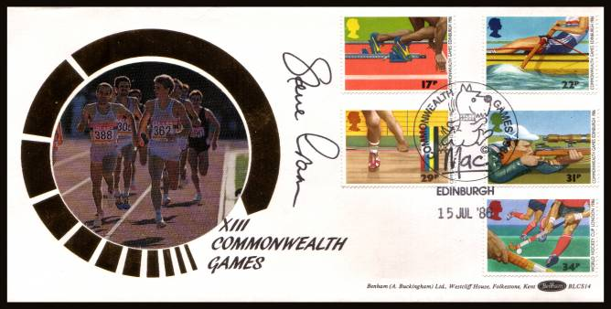 view larger back view image for Sport - Commonwealth Games set of five on an unaddressed Benham ''Silk'' FDC cancelled with a COMMONWEALTH GAMES - MAC - EDINBURGH handstamp dated 15 JUL '86. The cover has been autographed by STEVE CRAM Gold Medal Winner.