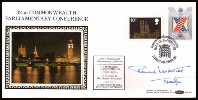 view larger back view image for Parliamentary Conference single on a Benham ''Silk''  FDC cancelled with a 