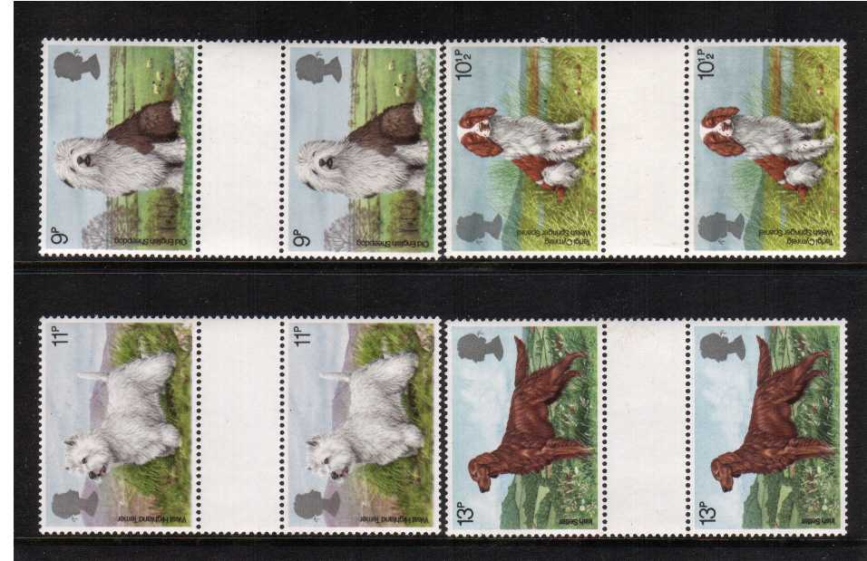 view larger back view image for Dogs set of four <br/>in unfolded plain gutter pairs superb unmounted mint.