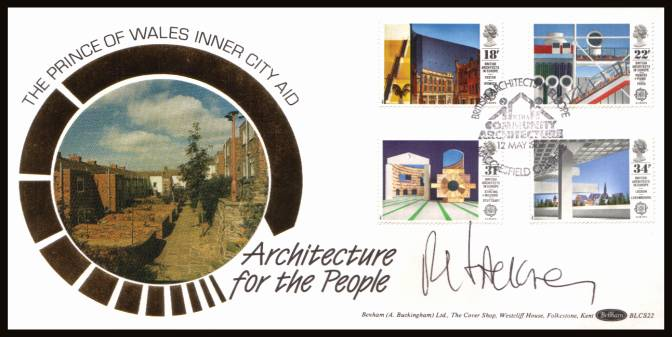 view larger back view image for EUROPA - Architects in Europe set of four on an unaddressed Benham ''Silk''  FDC cancelled with a BRITISH ARCHITECTS IN EUROPE - MACCLESFIELD - CHESHIRE handstamp dated 12 MAY 1987. The cover has been autographed by Dr. Rod Hackney, President of RIBA.