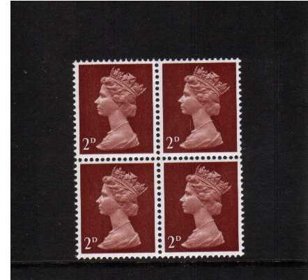 view larger image for SG 727Ey (1969) - 2d Lake-Brown - Type II - <b>''PHOSPHOR OMITTED''</b> superb unmounted mint block of four