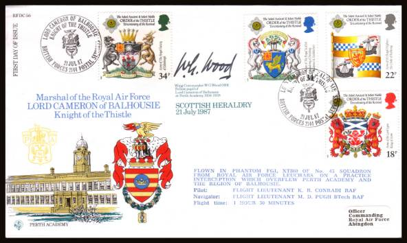 view larger back view image for Scottish Heraldry set of four on an addressed RAF Museum  FDC cancelled with a BRITISH FORCES POSTAL SERVICES 2144 handstamp dated 21 JUL 87. Autographed by WING COMMANDER W.G.WOOD OBE and backstamped ''certificed copy No. 0694 of 1400'' RFDC56