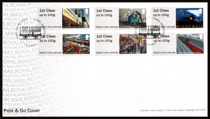 view larger back view image for ROYAL MAIL ''POST & GO'' - ROYAL MAIL HERITAGE - MAIL BY RAIL set of six on an unaddressed official Royal Mail FDC cancelled with the official alternative FDI cancel for HEMEL HEMPSTEAD dated 15.2.2017