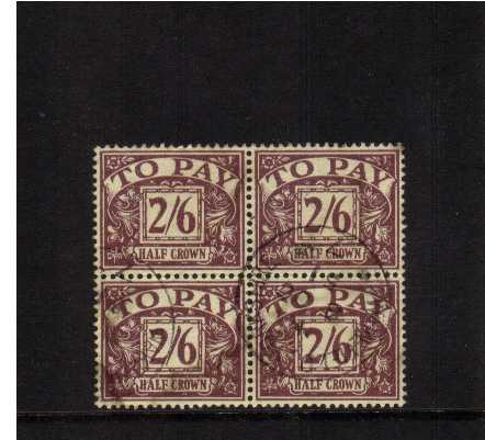 view larger image for SG D34 (1938) - 2/6d Purple on Yellow watermark G6th cancelled with a CDS 8 OC 51