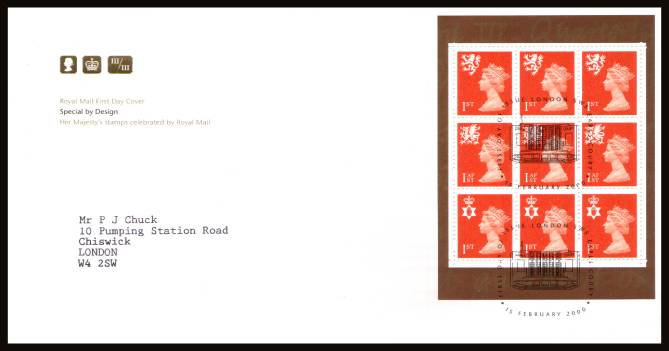 view larger back view image for 1st Class x3 x 3 Regions booklet pane from 'Special by Design' booklet on a neatly typed addressed official Royal Mail FDC cancelled with the EARLS COURT - SW5 handstamp dated 15 FEBRUARY 2000