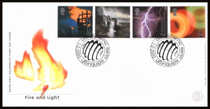 view larger back view image for Millennium Projects - 2nd Series - ''Fire and Light'' set of four on an unaddressed official Royal Mail FDC cancelled with two strikes of the special handstamp for