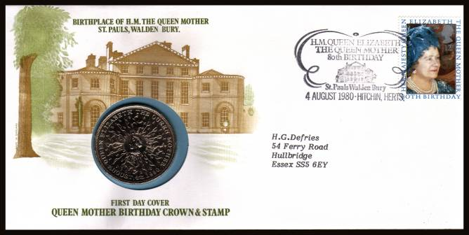 view larger back view image for 80th Birthday of The Queen Mother FDC produced by Sumner Collection containing the special crown issued for the birthday. A rare 'early' coin cover seldom seen.