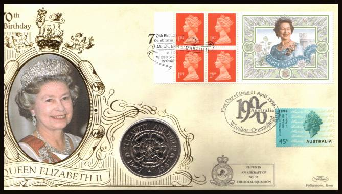 view larger back view image for 70th Birthday of The Queen booklet pane on a Benham flown FDC also bearing an Australian stamp and containing a Tristan Da Cunha 50p coin