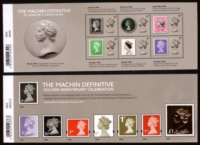 view larger image for SG MS3964-MS3965 (5 June 2017) - The Machin Definitive<br/>