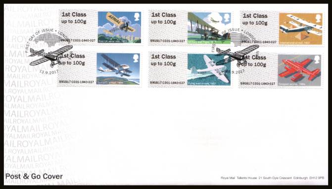 view larger back view image for ROYAL MAIL ''POST & GO'' - ROYAL MAIL HERITAGE - MAIL BY AIR set of six on an unaddressed official Royal Mail FDC cancelled with the official alternative FDI cancel for LONDON NW4 dated 13.9.2017