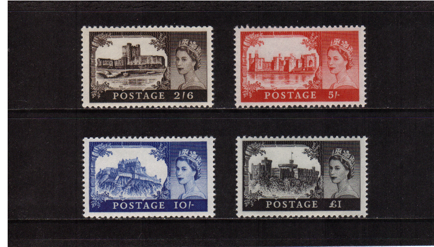 view larger image for SG 595a-598a (1963) - ''Castles'' printed by Bradbury Wilkinson<br/>