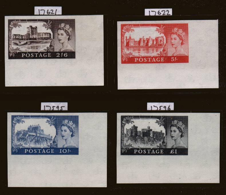 view larger image for SG 595-598 (1959) - Second De La Rue <b>IMPERFORATE IMPRIMATURE</b> corner marginal set superb unmounted mint each backstamped BPMA. Ex museum Archives. Circa 6 sets possible thus this set is <b>TRULY UNIQUE.</b> With certs.   So rare they are listed but unpriced by SG.