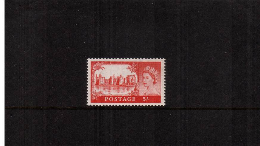 view larger image for SG 537a (1958) - 5/- Rose-Carmine<br/>