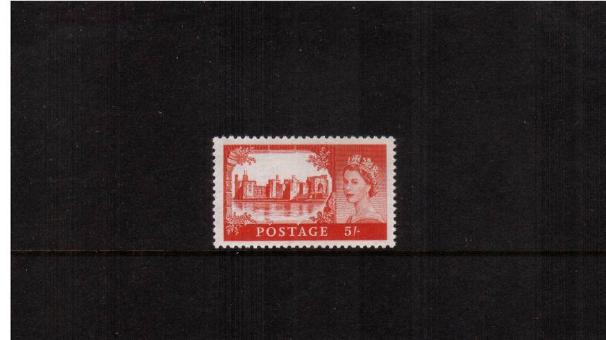 view larger image for SG 596 (1959) - 5/- Scarlet-Vermilion<br/>