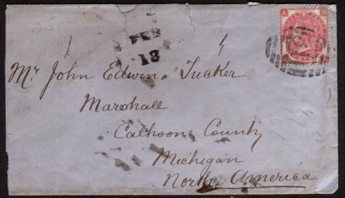 view larger front view of image for 3d Rose - Watermark Spray from Plate 6 lettered ''M-A'' cancelled with a ''311'' for GLASTONBURY to CALHOON COUNTY - MICHIGAN - USA backstamp dated JA 31 71. From HOLMAN & BATH - SOLICITORS. SG Cat �110