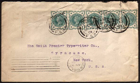 view larger front view of image for �d Blue Green ''JUBILEE'' as a horizontal strip of five cancelled with four strikes of the LONDON F.S.8 double ring handstamp dated AP 13 01 from the SMITH PREMIER TYPEWRITER Co. to their NEW YORK branch. Obviously typed address!!