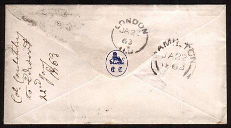 view larger back view of image for 6d Deep Lilac cancelled with a LONDON S.W. 25 duplex dated JA 8 63 addressed to LONDON - CANADA WEST !! Backstamped HAMILTON JA 22 1863. A superb bright and fresh, small neat envelope! Superb!