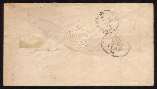 view larger back view of image for 3d Rose from Plate 6 lettered ''D-G'' cancelled with a LIVERPOOL duplex crisply dated 30 JU 71 to NOVA SCOTIA backstamped STELLARTON (pop in 1871 1750) JY 13 71. Stunning quality cover.