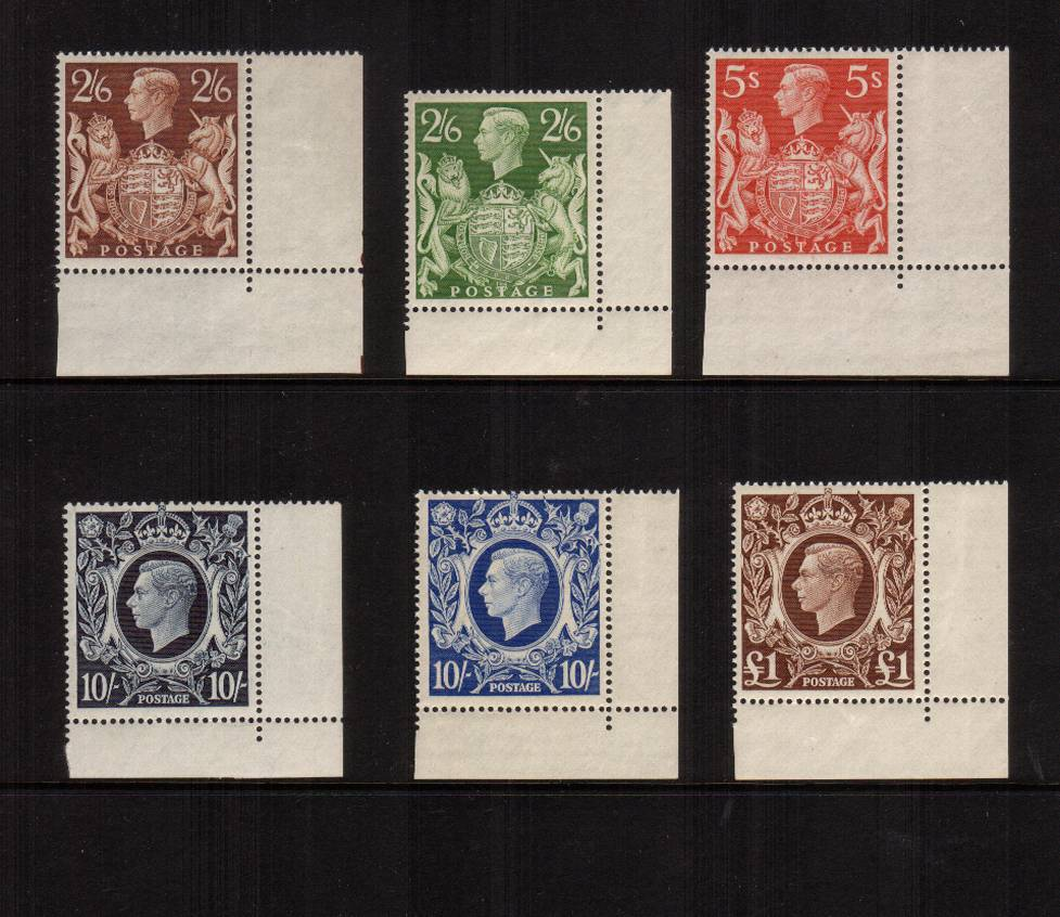 view larger image for SG 476-478b (1939) - The ''Arms'' set of six in superb unmounted mint<br/>SE corner sheet singles. Superb quality. <br/>Unusual and difficult to build!