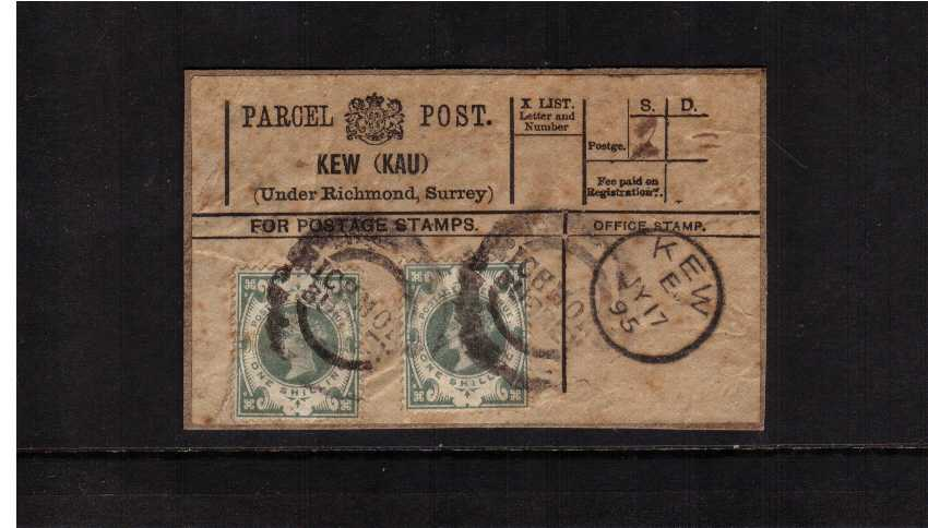 view larger image for SG 211 (1887) - Two 1/- Green's on a complete PARCEL POST label used from KEW, Surrey dated KEW JY 17 95. Odd tone spot but uncommon. SG Cat �60x2=�120