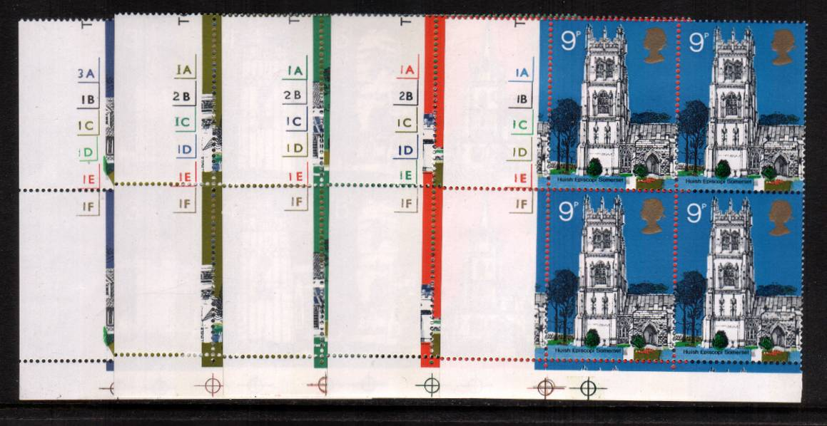view larger image for SG 904-908 (1972) - British Architecture - British Churches<br/>Set of five in superb unmounted mint cylinder blocks of four