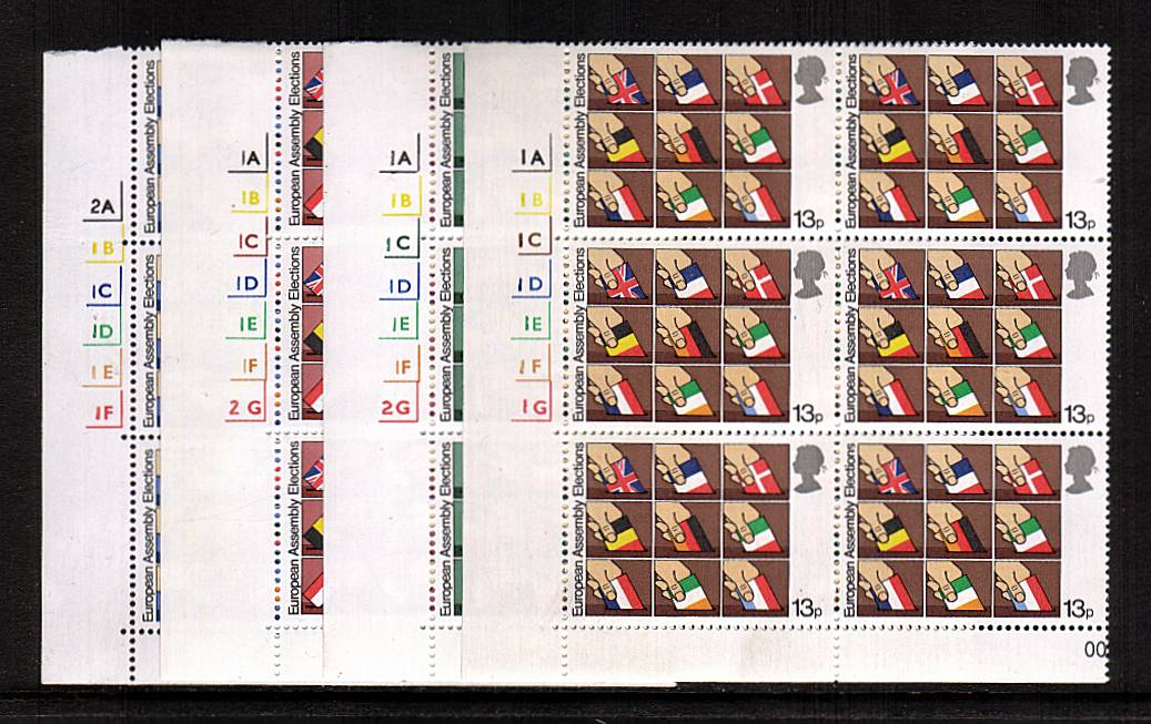view larger image for SG 1083-1086 (1979) - First Direct Elections to Europe<br/>Set of four in superb unmounted mint cylinder blocks of six