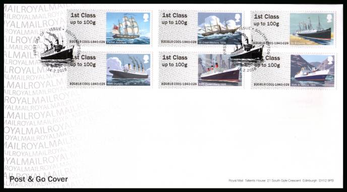 view larger back view image for ROYAL MAIL ''POST & GO'' - ROYAL MAIL HERITAGE - MAIL BY SEA  set of six on an unaddressed official Royal Mail FDC cancelled with the official alternative FDI cancel for SOUTHAMPTON dated 14.2.2018