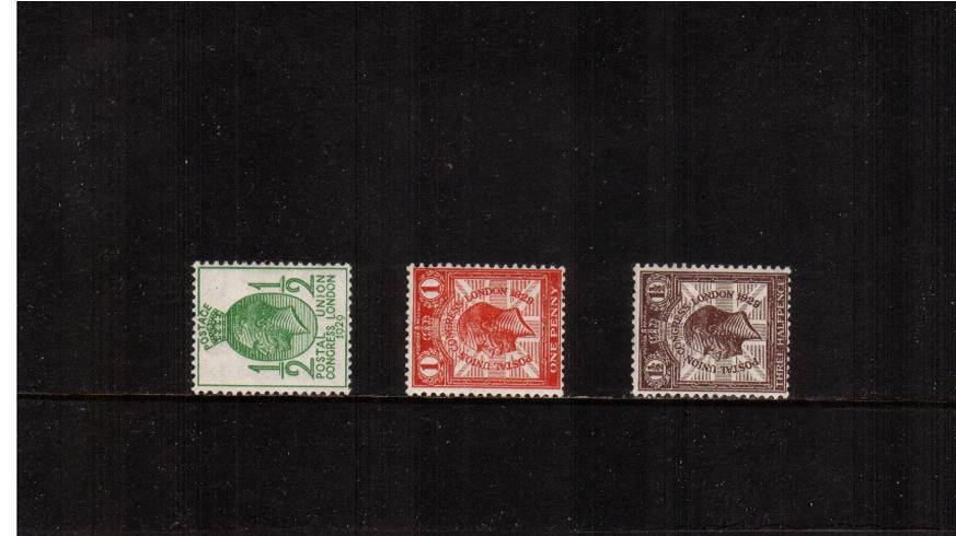 view larger image for SG 434a-436a (1929) - The Postal Union Congress set of three<br/>all with <b>WATERMARK SIDEWAYS</b><br/>superb unmounted mint.<br/>