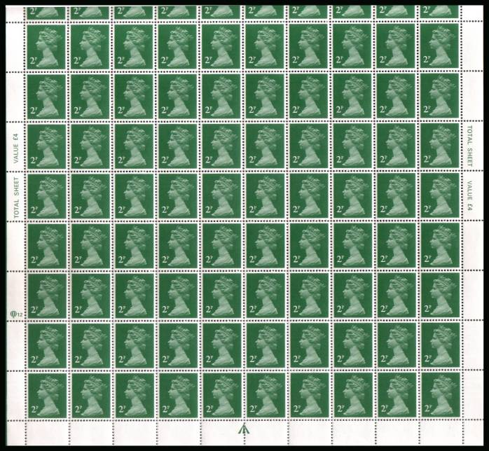 view larger image for SG X1000a (1984) - 2p Emerald Green - Questa - Perf 15x14 Cylinder  12<br/>