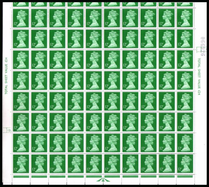 view larger image for SG X896 (1985) - 12p Bright Emerald  - Harrison - Cylinder 13DOT