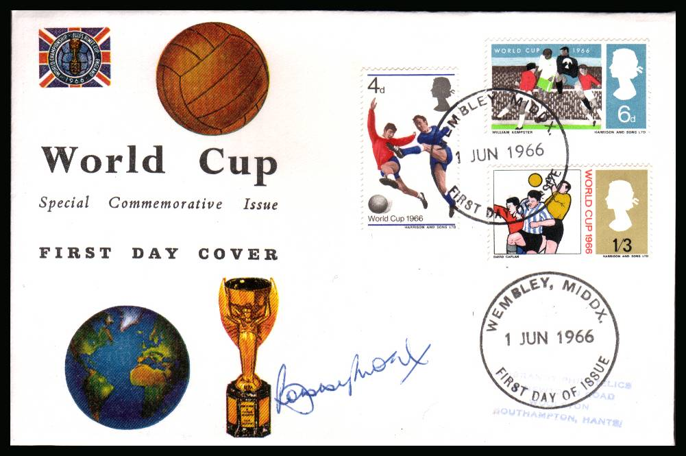 view larger back view image for World Cup set on CONNOISEUR  FDC cancelled with FDI cancel for WEMBLEY - MIDDX dated 1 JUN 1966 autographed by the legend <b>BOBBY MOORE</b>.Completely authentic purchased by me from a good source. Near identical FDC seen elsewhere for �895 <b>QFQ</b>