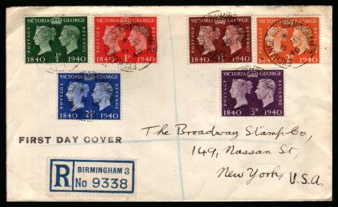 view larger back view image for Postage Stamp Centenary set of six on a small hand addressed registered envelope with each stamp cancelled with a EXCHANGE B.O. - BIRMINGHAM steel CDS dated 6 MY 40.