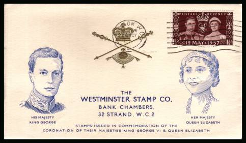 view larger back view image for Coronation single on a Westminster Stamp Co. colour printed FDC cancelled with an indistinct LONDON W.C. ''wavy line''. 