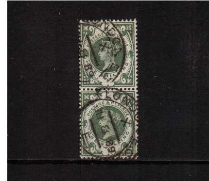 view larger image for SG 211 (1887) - 1/- Deep Green. A truly astonishing DEEP shade of the green unlisted by SG. A superb fine used vertical pair with near full gum (!) cancelled with two light LONDON 'hooded circle' cancels dated JU 8 89. A rare shade!