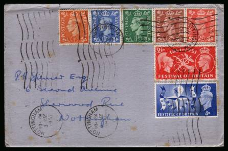 view larger back view image for Festival of Britain set of two combo cover plus the five definitives issued on small Blue envelope cancelled four times with a NOTTINGHAM ''wavy line'' dated 3 MAY 1951.