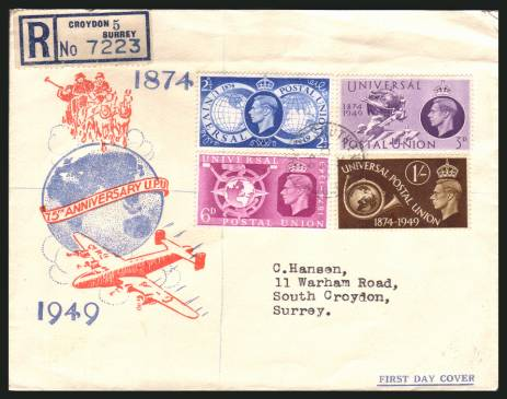 view larger back view image for 75th Anniversary of Universal Postal Union set of four on a REGISTERED illustrated, typed addressed FDC cancelled with a SOUTHEND - CROYDON - SURREY steel CDS  dated 10 OCT 49 