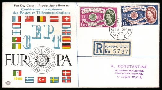 view larger back view image for EUROPA set of two on a colour handstamped addressed Registered FDC cancelled with a CHARING CROSS B.O. W.C.2 steel CDS. The item also comes with an invoice from the addressee in 1968 for �1-10/-!!  Pretty!
