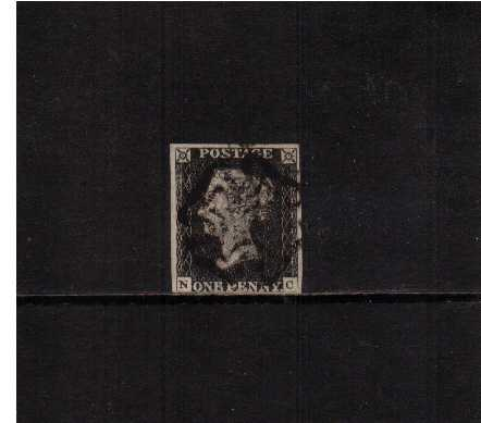 view larger image for SG 2 (1840) - 1d Black from Plate 2 lettered 'N-C'<br/>A fine four margined stamp in the Grey-Black shade cancelled with a BLACK Maltese Cross. Pretty!<br/>SG AS16m Cat �650++