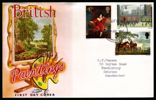 view larger back view image for British Paintings set of three on an unaddressed illustrated CONNOISSEUR colour FDC cancelled with MANCHESTER FDI dated 10 JUL 1967.<br/><b>QAQ</b>