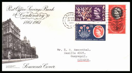 view larger back view image for Post Office Savings Bank set of three on a neatly typed addressed illustrated FDC to ECUADOR (!) cancelled with a LONDON ''wavy line'' cancel clearly dated 28 AUG 1961. A lovely cover.