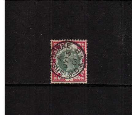 view larger image for SG 214 (1900) - 1/- Green and Carmine (deep shade) cancelled with a crisp SHERBORNE M.O.&S.B. railway CDS dated JY 15 01. A superb stamp! SG Cat �125+50%=�187.50
