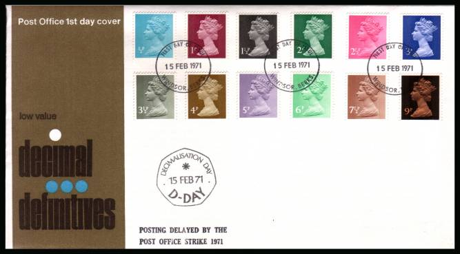 view larger back view image for The initial Machin definitive set of twelve on an unaddressed official Post Office FDC cancelled with three strikes of the WINDSOR - BERKS FDI cancel dated 15 FEB 71 also with the bonus of the DECIMALISATION DAY cachet.