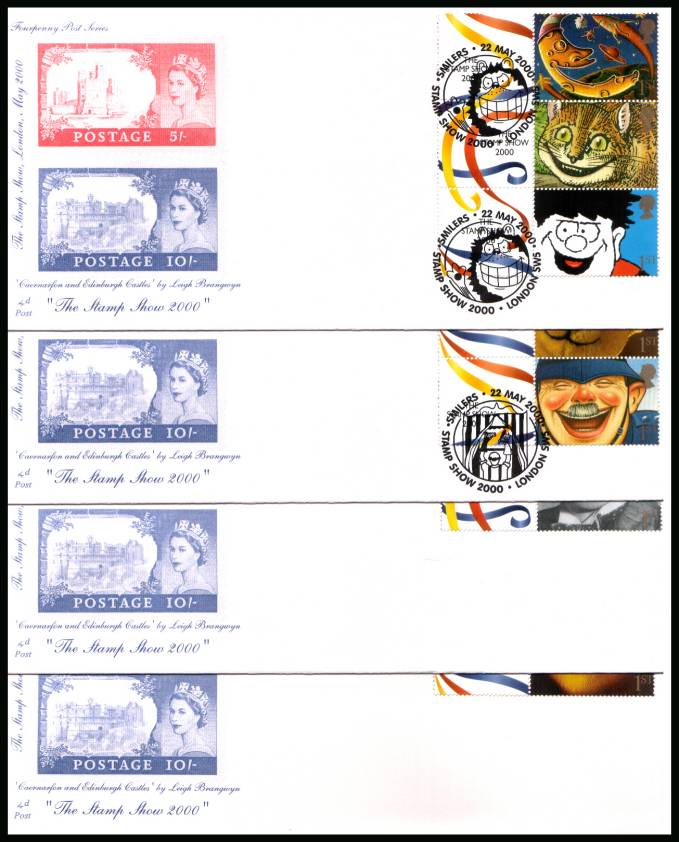 view larger back view image for The Stamp show 2000 set of ten from Smiler Sheet LS1 on four unaddressed 4d Post FDCs cancelled with SMILERS - STAMP SHOW 2000 - LONDON SW5 dated 22 MAY 2000 